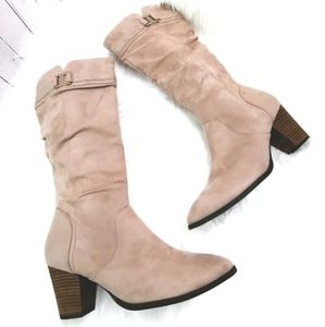 Dr scholls devote tall nude tan suede boots 11M